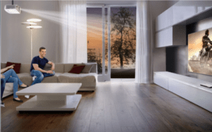 Videowall met een beamer als thuis bioscoop
